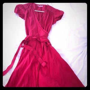 Calypso red silk wrap dress